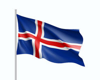 Waving flag of Iceland state. Illustration of European country flag on flagpole. Vector 3d icon isolated on white background Stock Photos