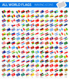 Waving Flag Icons - All World Vector. Illustration Stock Photo