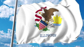 Waving flag of Illinois. 3D rendering Royalty Free Stock Photos