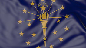 Waving flag of Indiana state. 3D rendering Stock Photos