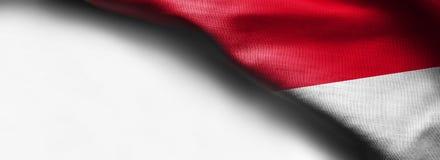 Waving flag of Indonesia, Asia on white background - right top corner flag. Waving flag of Indonesia, Asia on white background - right top corner royalty free stock image