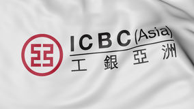 Waving flag with Industrial and Commercial Bank of China ICBC logo, 3D rendering Royalty Free Stock Photos