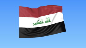 Waving flag of Iraq, seamless loop. Exact size, blue background. Part of all countries set. 4K ProRes with alpha. Flapping flag of Iraq, blue background stock illustration