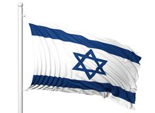 Waving flag of Israel on flagpole Stock Images
