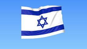 Waving flag of Israel, seamless loop. Exact size, blue background. Part of all countries set. 4K ProRes with alpha. Flapping flag of Israel, blue background vector illustration