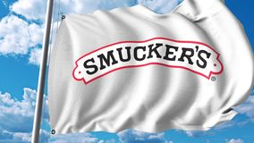 Waving flag with The J. M. Smucker Company logo. 4K editorial animation. Waving flag with The J. M. Smucker Company logo. 4K editorial clip stock illustration