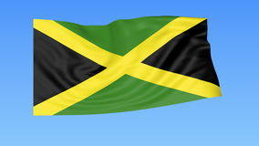 Waving flag of Jamaica, seamless loop. Exact size, blue background. Part of all countries set. 4K ProRes with alpha. Flapping flag of Jamaica, blue background vector illustration
