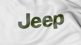 Waving flag with Jeep logo. Editorial 3D rendering Stock Image