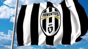 Waving flag with Juventus football team logo. 4K editorial clip. Waving flag with Juventus football team logo. 4K editorial animation vector illustration