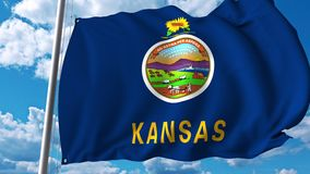 Waving flag of Kansas stock illustration