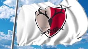 Waving flag with Kashima Antlers football club logo. 4K editorial clip. Waving flag with Kashima Antlers football club logo. 4K editorial animation stock illustration