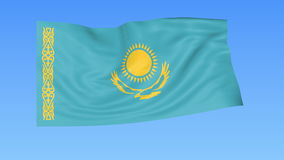 Waving flag of Kazakhstan, seamless loop. Exact size, blue background. Part of all countries set. 4K ProRes with alpha. Flapping flag of Kazakhstan, blue vector illustration