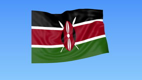 Waving flag of Kenya, seamless loop. Exact size, blue background. Part of all countries set. 4K ProRes with alpha. Flapping flag of Kenya, blue background royalty free illustration