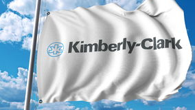 Waving flag with Kimberly Clark logo. Editoial 3D rendering Royalty Free Stock Images