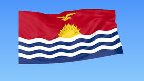 Waving flag of Kiribati, seamless loop. Exact size, blue background. Part of all countries set. 4K ProRes with alpha. Flapping flag of Kiribati, blue background stock illustration