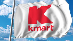 Waving flag with Kmart logo. Editoial 3D rendering Royalty Free Stock Image