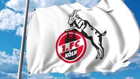 Waving flag with Koln football club logo. 4K editorial clip. Waving flag with Koln football club logo. 4K editorial animation stock illustration