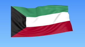 Waving flag of Kuwait, seamless loop. Exact size, blue background. Part of all countries set. 4K ProRes with alpha. Flapping flag of Kuwait, blue background vector illustration