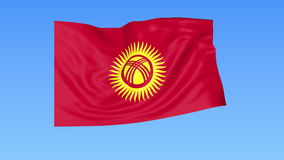 Waving flag of Kyrgyzstan, seamless loop. Exact size, blue background. Part of all countries set. 4K ProRes with alpha. Flapping flag of Kyrgyzstan, blue stock illustration