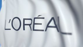 Waving flag with L`Oreal S.A. logo, close-up. Editorial loopable 3D animation stock illustration