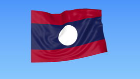 Waving flag of Laos, seamless loop. Exact size, blue background. Part of all countries set. 4K ProRes with alpha. Flapping flag of Laos, blue background stock illustration