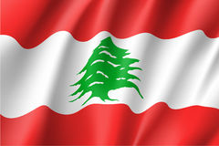 Waving flag of Lebanese Republic. Stock Image