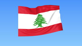 Waving flag of Lebanon, seamless loop. Exact size, blue background. Part of all countries set. 4K ProRes with alpha. Flapping flag of Lebanon, blue background stock illustration