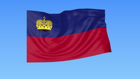Waving flag of Liechtenstein, seamless loop. Exact size, blue background. Part of all countries set. 4K ProRes. Flapping flag of Liechtenstein, blue background royalty free illustration