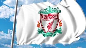 Waving flag with Liverpool football team logo. 4K editorial clip. Waving flag with Liverpool football team logo. 4K editorial animation vector illustration