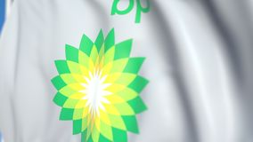 Waving flag with BP plc logo, close-up. Editorial loopable 3D animation vector illustration