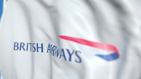 Waving flag with British Airways logo, close-up. Editorial 3D rendering. Waving flag with logo, close-up. Editorial 3D vector illustration