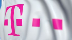Waving flag with Deutsche Telekom AG logo, close-up. Editorial loopable 3D animation royalty free illustration