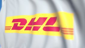 Waving flag with DHL International GmbH logo, close-up. Editorial loopable 3D animation royalty free illustration