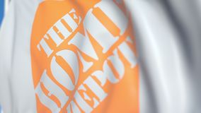 Waving flag with The Home Depot, Inc. logo, close-up. Editorial loopable 3D animation royalty free illustration
