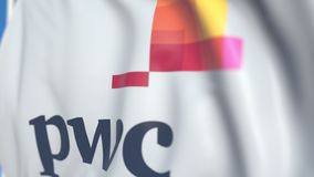 Waving flag with PricewaterhouseCoopers PwC logo, close-up. Editorial loopable 3D animation royalty free illustration