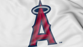 Waving flag with Los Angeles Angels of Anaheim MLB baseball team logo, 3D rendering Stock Photos