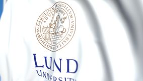 Waving flag with Lund University emblem, close-up. Editorial loopable 3D animation. Waving flag with Lund University emblem. Editorial 3D stock video