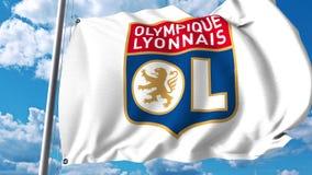 Waving flag with Lyon football club logo. 4K editorial clip. Waving flag with Lyon football club logo. 4K editorial animation stock illustration