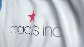 Flying flag with Macys Inc logo, close-up. Editorial loopable 3D animation. Waving flag with Macys Inc logo. Editorial 3D stock footage