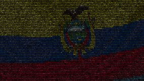 Waving flag of Ecuador made of text symbols on a computer screen. Conceptual loopable animation. Waving flag made of symbols on a computer screen stock video footage