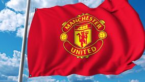 Waving flag with Manchester United football team logo. 4K editorial clip. Waving flag with Manchester United football team logo. 4K editorial animation stock illustration