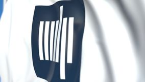 Waving flag with Massachusetts Institute of Technology MIT emblem, close-up. Editorial loopable 3D animation. Waving flag with Massachusetts Institute of stock video footage