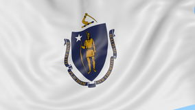 Waving flag of Massachusetts state against blue sky. Seamless loop 4K clip. ProRes stock footage