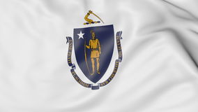 Waving flag of Massachusetts state. 3D rendering Royalty Free Stock Images