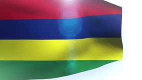 Waving flag of Mauritius isolated on white background. Video stock footage