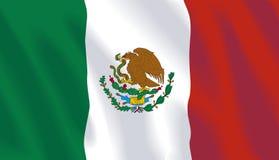 Waving flag of Mexico stock illustration