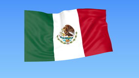 Waving flag of Mexico, seamless loop. Exact size, blue background. Part of all countries set. 4K ProRes with alpha. Flapping flag of Mexico, blue background vector illustration