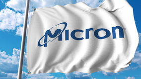Waving flag with Micron Technology logo. Editoial 3D rendering Royalty Free Stock Image
