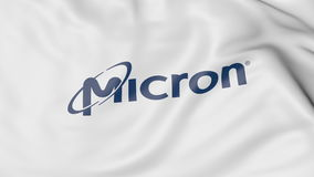 Waving flag with Micron Technology logo. Editorial 3D rendering Royalty Free Stock Images