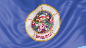 Waving flag of Minnesota state against blue sky. Seamless loop 4K clip. ProRes stock video footage